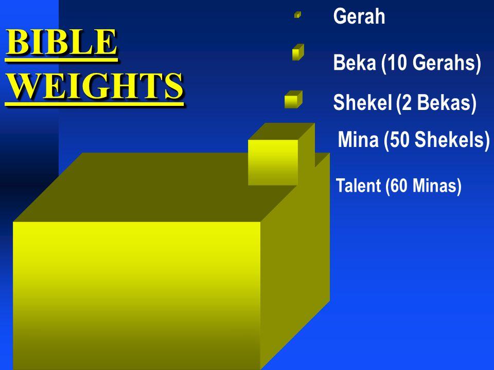 BIBLE WEIGHTS Shekel (2 Bekas) Mina (50 Shekels) Beka (10 Gerahs) Talent (60 Minas) Gerah