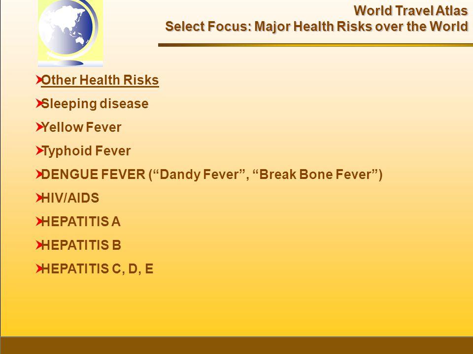World Travel Atlas Select Focus: Major Health Risks over the World  Other Health Risks  Sleeping disease  Yellow Fever  Typhoid Fever  DENGUE FEVER ( Dandy Fever , Break Bone Fever )  HIV/AIDS  HEPATITIS A  HEPATITIS B  HEPATITIS C, D, E