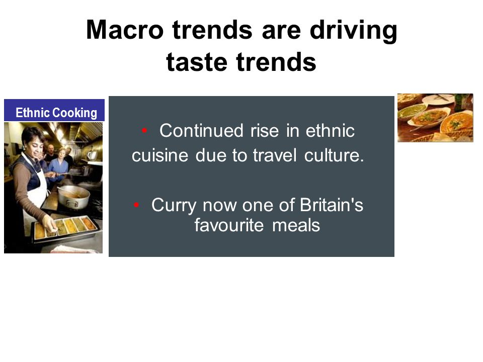 Continued rise in ethnic cuisine due to travel culture.