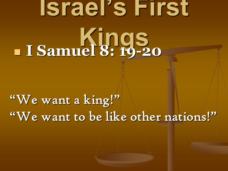 Israel's First Kings I Samuel 19 I Samuel 19 Saul unleashes the forces