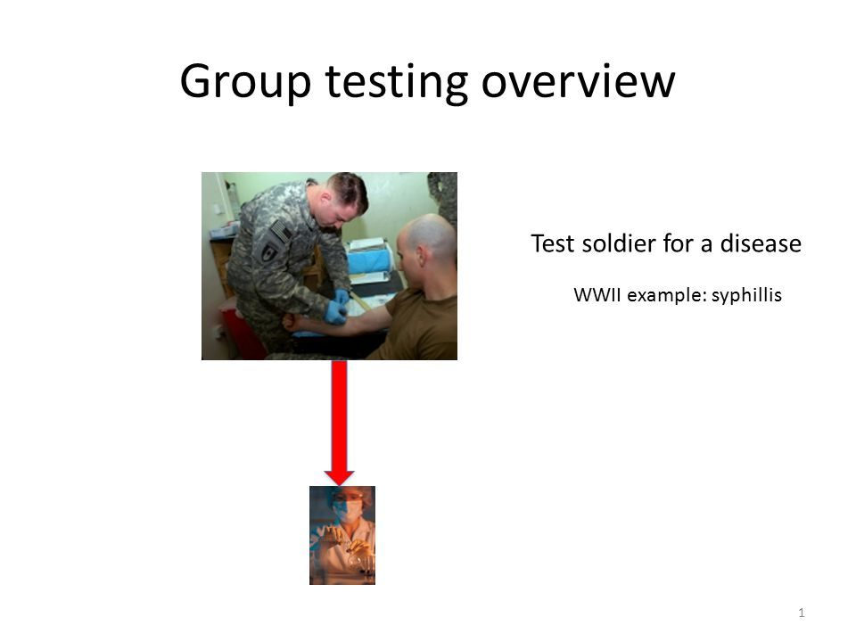 Group testing overview Test soldier for a disease WWII example: syphillis 1