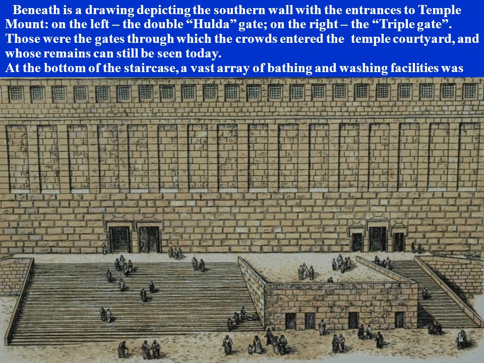Beneath is a drawing depicting the southern wall with the entrances to Temple Mount: on the left – the double Hulda gate; on the right – the Triple gate .