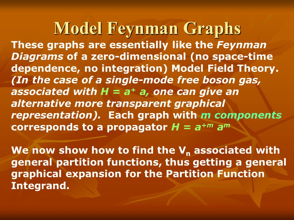 Model Feynman Graphs These graphs are essentially like the Feynman Diagrams of a zero-dimensional (no space-time dependence, no integration) Model Field Theory.