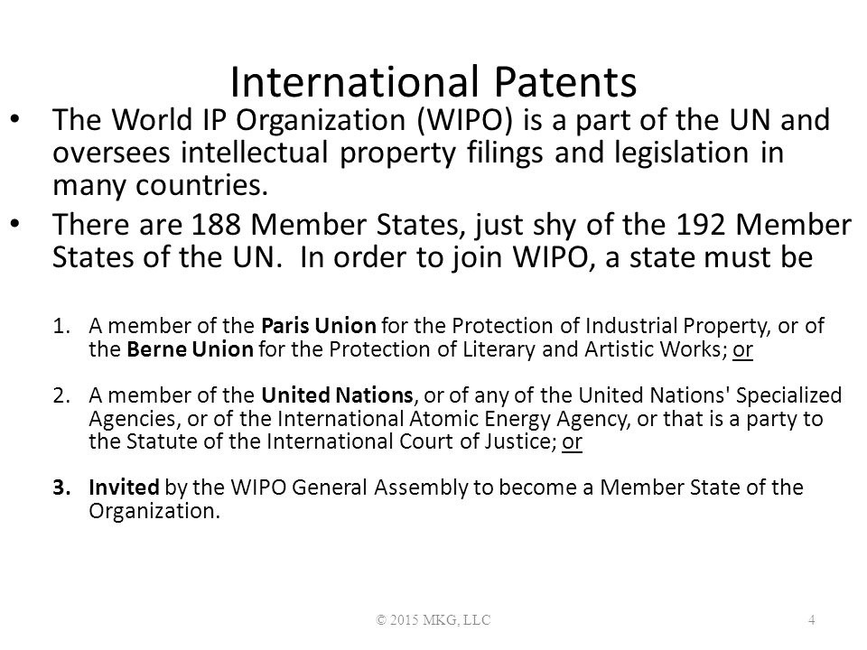 International Patents The World IP Organization (WIPO) is a part of the UN and oversees intellectual property filings and legislation in many countries.