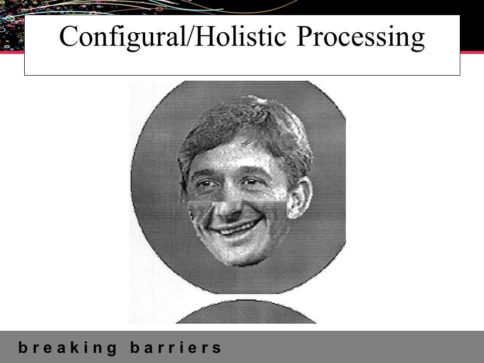 b r e a k i n g b a r r i e r s UNIVERSITY OF ABERTAY Configural/Holistic Processing