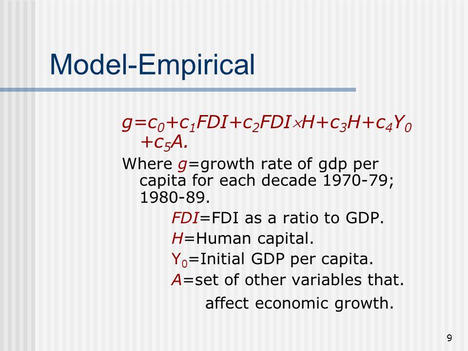 9 Model-Empirical g=c 0 +c 1 FDI+c 2 FDIH+c 3 H+c 4 Y 0 +c 5 A. Where g=growth rate of gdp per capita for each decade 1970-79; 1980-89. FDI=FDI as a