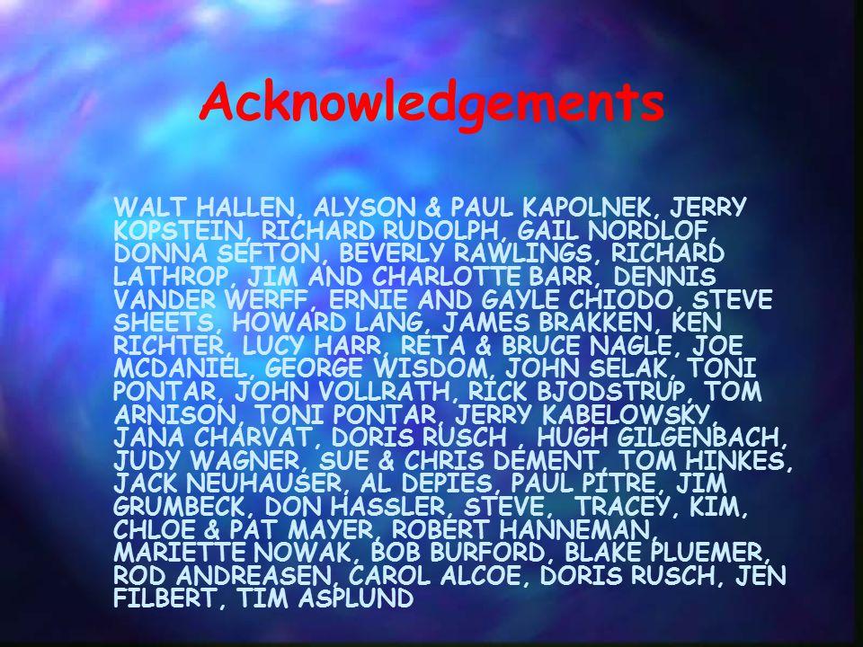 Acknowledgements WALT HALLEN, ALYSON & PAUL KAPOLNEK, JERRY KOPSTEIN, RICHARD RUDOLPH, GAIL NORDLOF, DONNA SEFTON, BEVERLY RAWLINGS, RICHARD LATHROP, JIM AND CHARLOTTE BARR, DENNIS VANDER WERFF, ERNIE AND GAYLE CHIODO, STEVE SHEETS, HOWARD LANG, JAMES BRAKKEN, KEN RICHTER, LUCY HARR, RETA & BRUCE NAGLE, JOE MCDANIEL, GEORGE WISDOM, JOHN SELAK, TONI PONTAR, JOHN VOLLRATH, RICK BJODSTRUP, TOM ARNISON, TONI PONTAR, JERRY KABELOWSKY, JANA CHARVAT, DORIS RUSCH, HUGH GILGENBACH, JUDY WAGNER, SUE & CHRIS DEMENT, TOM HINKES, JACK NEUHAUSER, AL DEPIES, PAUL PITRE, JIM GRUMBECK, DON HASSLER, STEVE, TRACEY, KIM, CHLOE & PAT MAYER, ROBERT HANNEMAN, MARIETTE NOWAK, BOB BURFORD, BLAKE PLUEMER, ROD ANDREASEN, CAROL ALCOE, DORIS RUSCH, JEN FILBERT, TIM ASPLUND