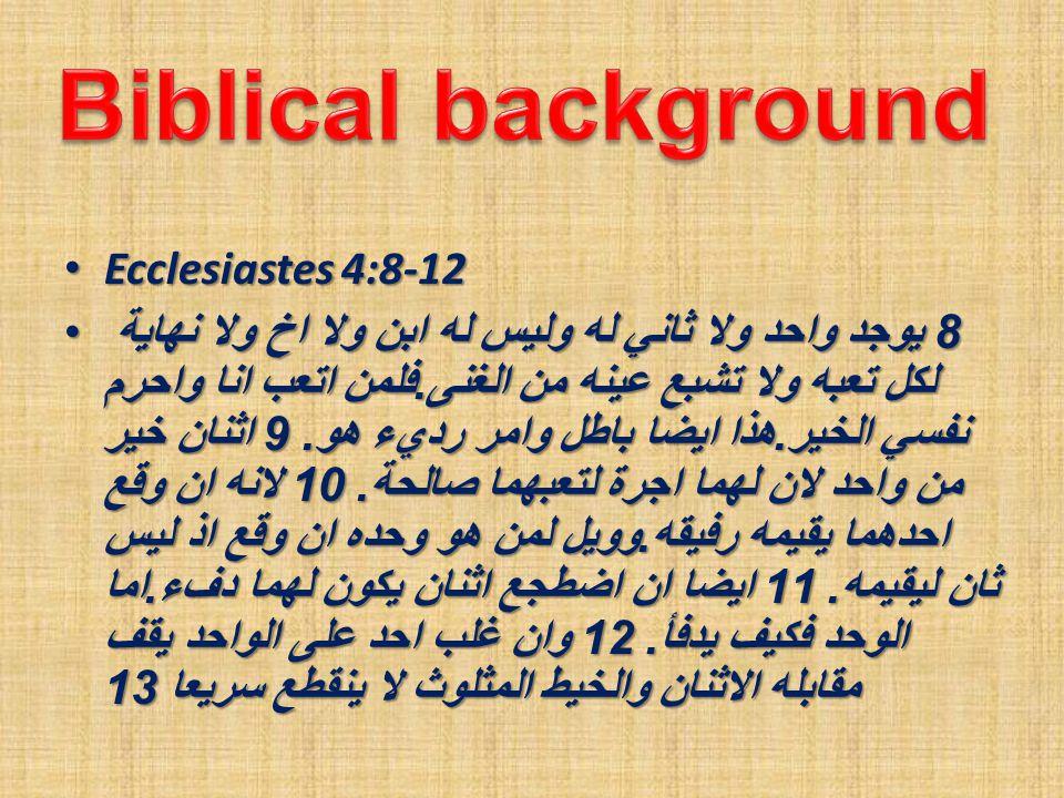 Ecclesiastes 4:8-12 Ecclesiastes 4:8-12 8 يوجد واحد ولا ثاني له وليس له ابن ولا اخ ولا نهاية لكل تعبه ولا تشبع عينه من الغنى.