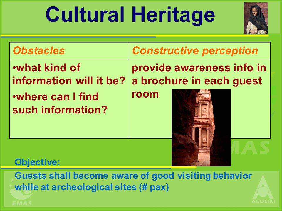 Objective: Guests shall become aware of good visiting behavior while at archeological sites (# pax) Cultural Heritage ObstaclesConstructive perception