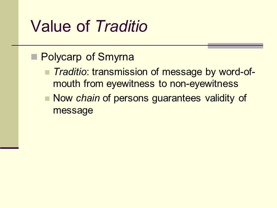 Competing Apostolic Traditions Substitution tactics (e.g., Colossians v.