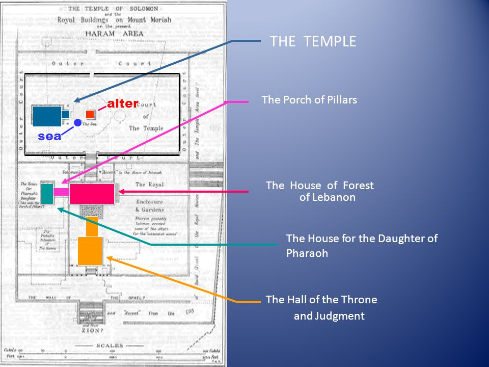 THE TEMPLE The House of Forest of Lebanon The House for the Daughter of Pharaoh The Porch of Pillars alter sea The Hall of the Throne and Judgment