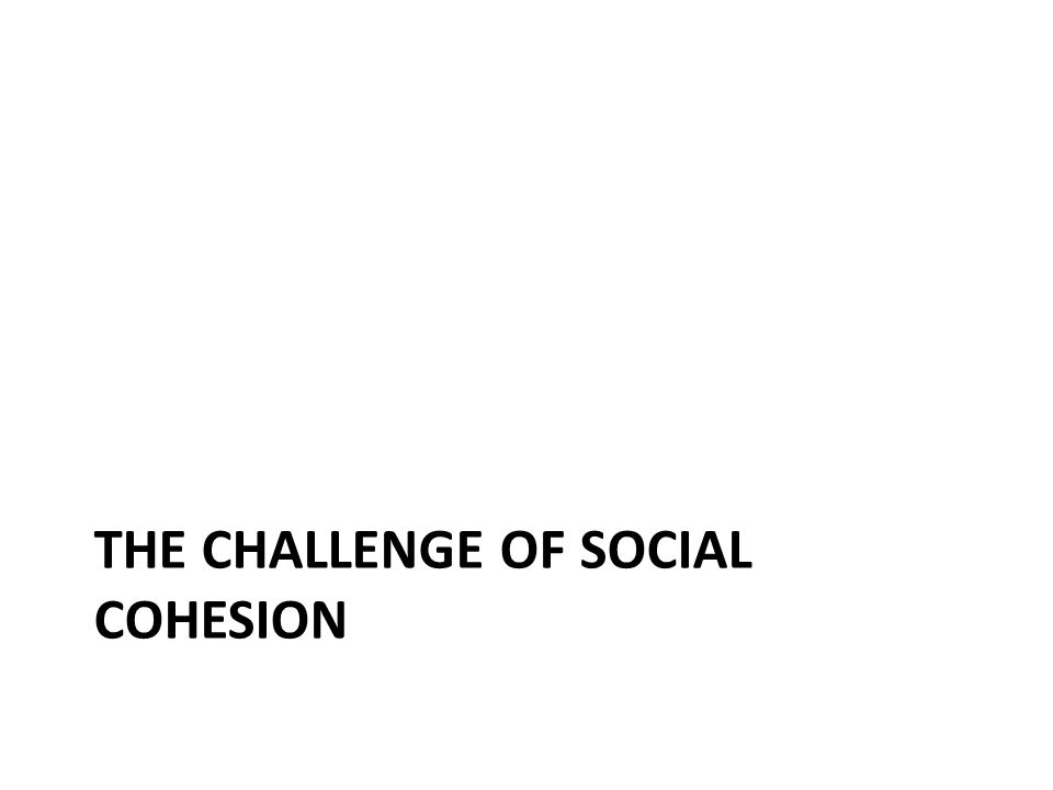 THE CHALLENGE OF SOCIAL COHESION