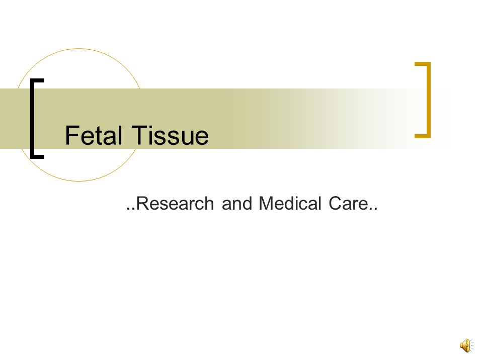 Fetal Tissue..Research and Medical Care..