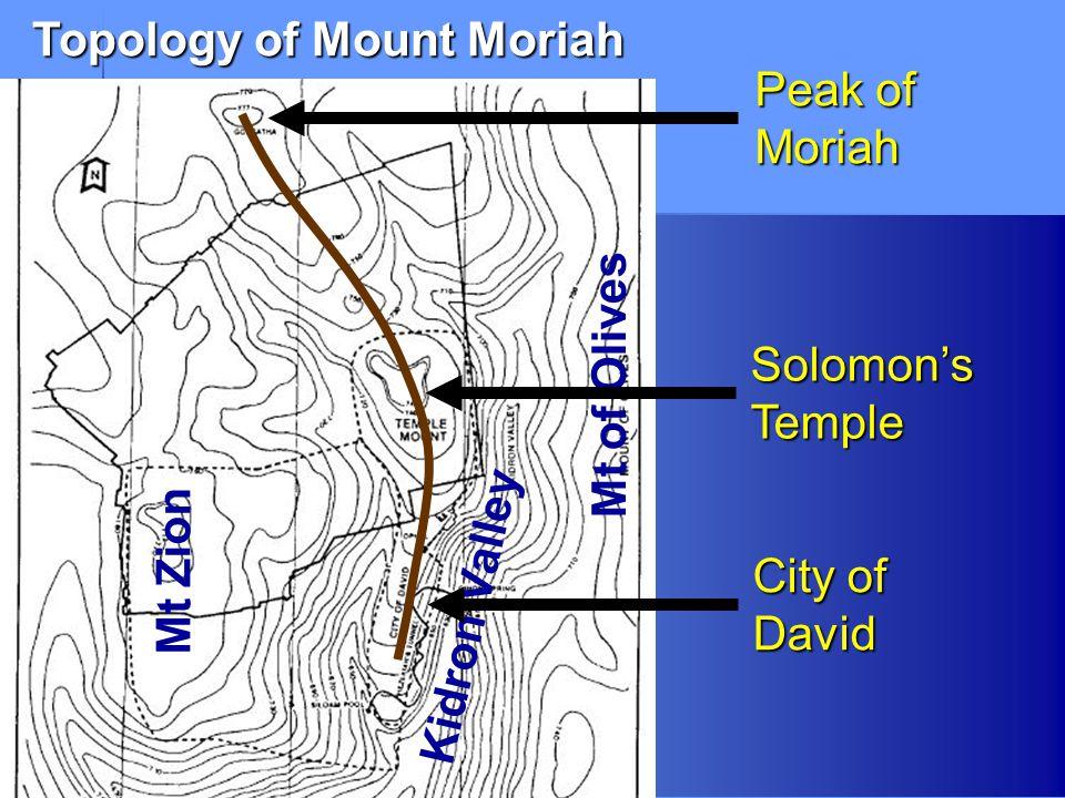 Topology of Mount Moriah Mt of Olives Kidron ValleySolomon'sTemple Peak of Moriah City of David Mt Zion