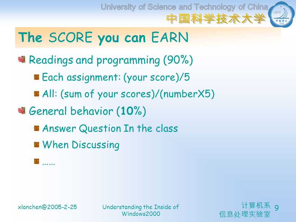 计算机系 信息处理实验室 xlanchen@2005-2-25Understanding the Inside of Windows2000 9 The SCORE you can EARN Readings and programming (90%) Each assignment: (your score)/5 All: (sum of your scores)/(numberX5) General behavior (10%) Answer Question In the class When Discussing ……