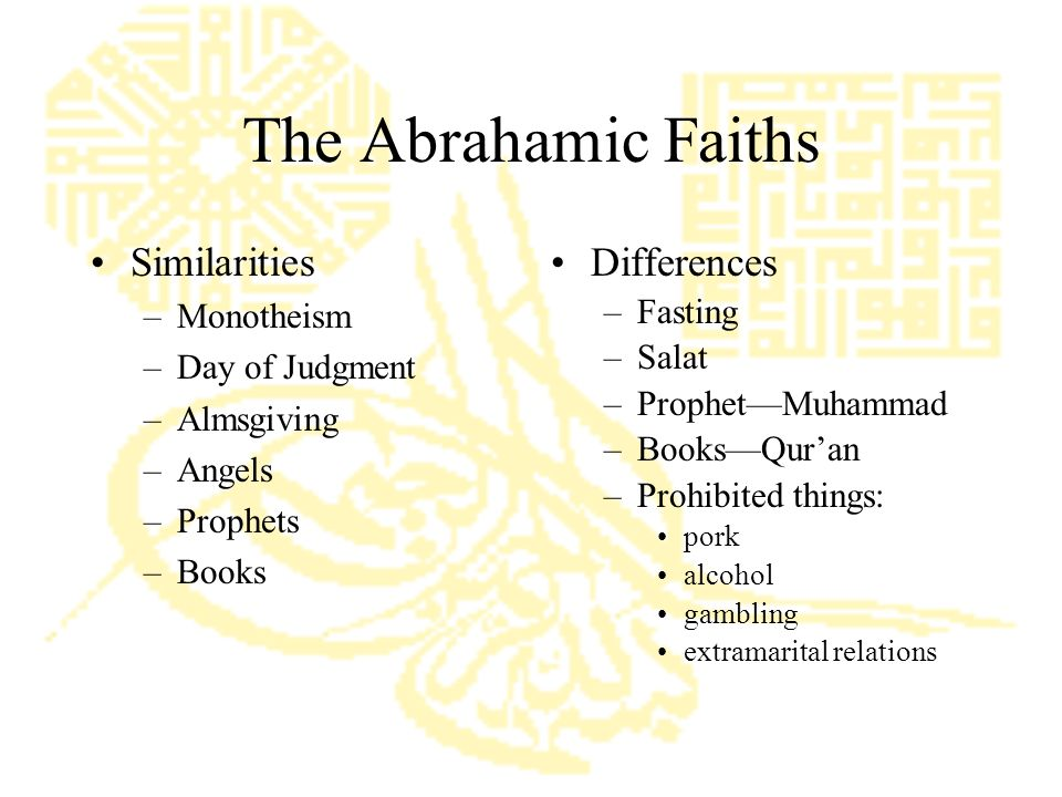 The Abrahamic Faiths Similarities –Monotheism –Day of Judgment –Almsgiving –Angels –Prophets –Books Differences –Fasting –Salat –Prophet—Muhammad –Books—Qur'an –Prohibited things: pork alcohol gambling extramarital relations
