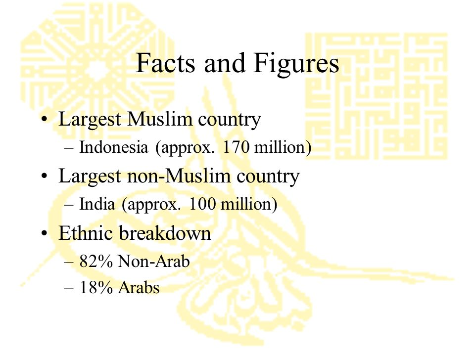 Facts and Figures Largest Muslim country –Indonesia (approx.