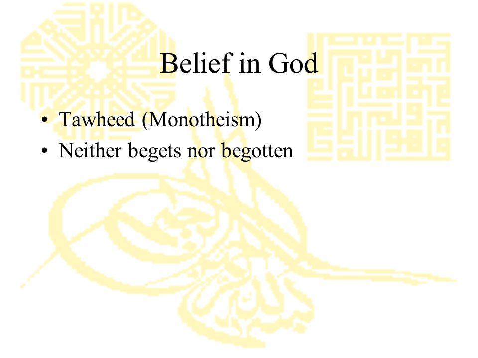 Belief in God Tawheed (Monotheism) Neither begets nor begotten