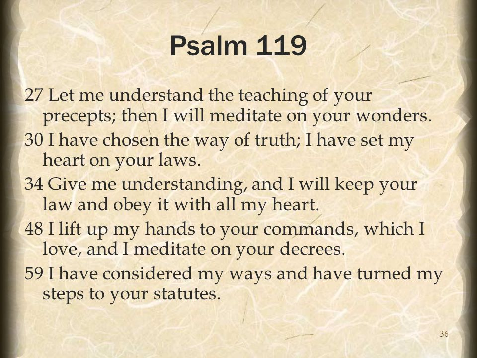 36 Psalm 119 27 Let me understand the teaching of your precepts; then I will meditate on your wonders.