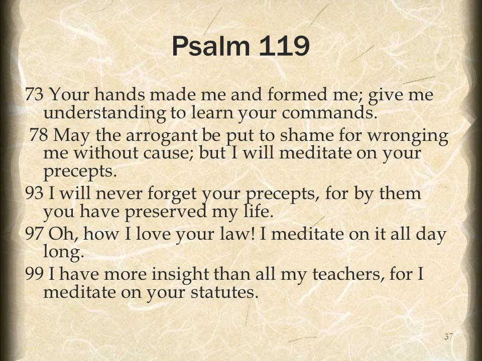 37 Psalm 119 73 Your hands made me and formed me; give me understanding to learn your commands.