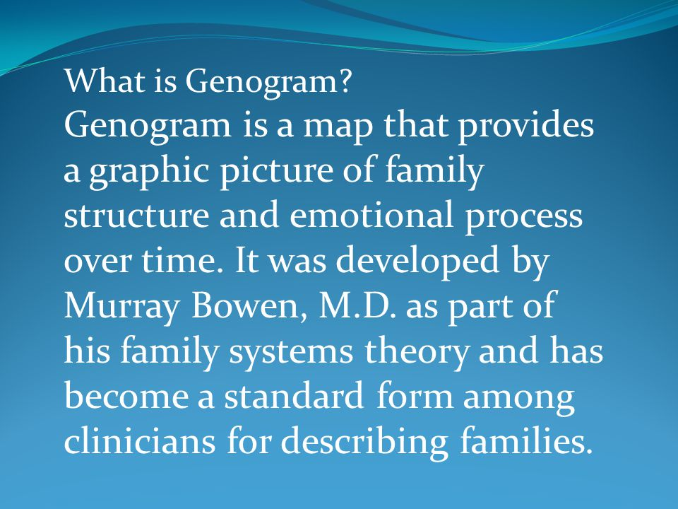 What is Genogram? Genogram is a map that provides a graphic picture of family structure and emotional process over time. It was developed by Murray Bo