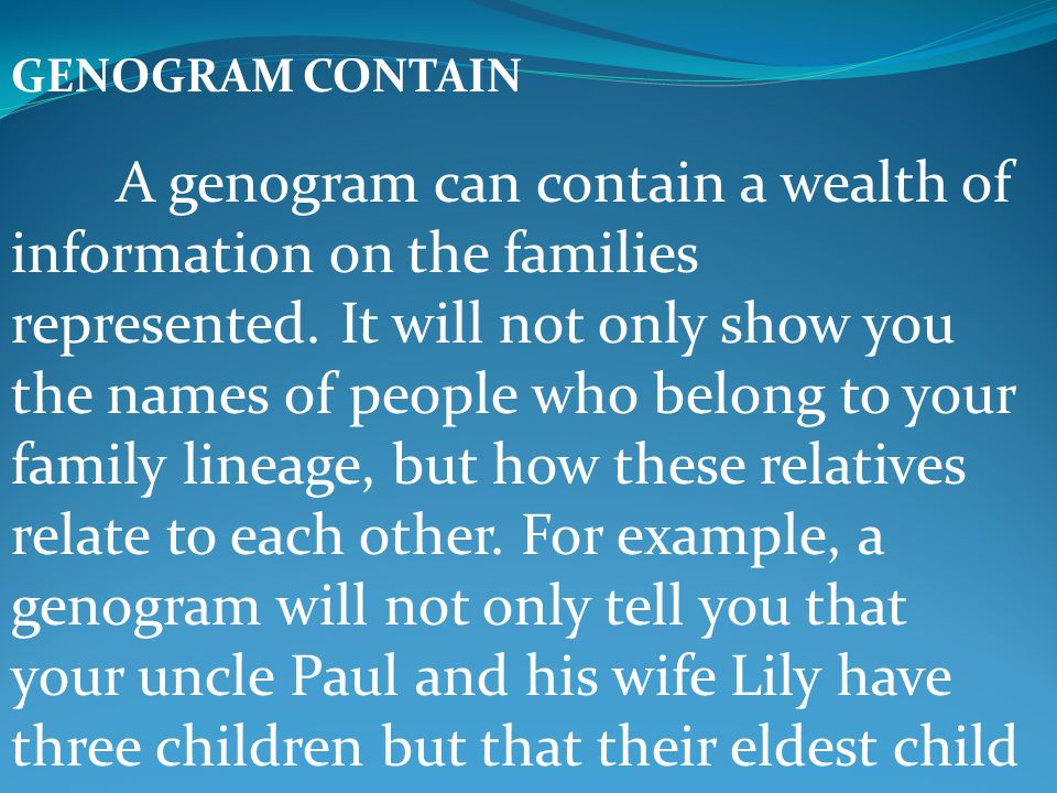 GENOGRAM CONTAIN A genogram can contain a wealth of information on the families represented. It will not only show you the names of people who belong