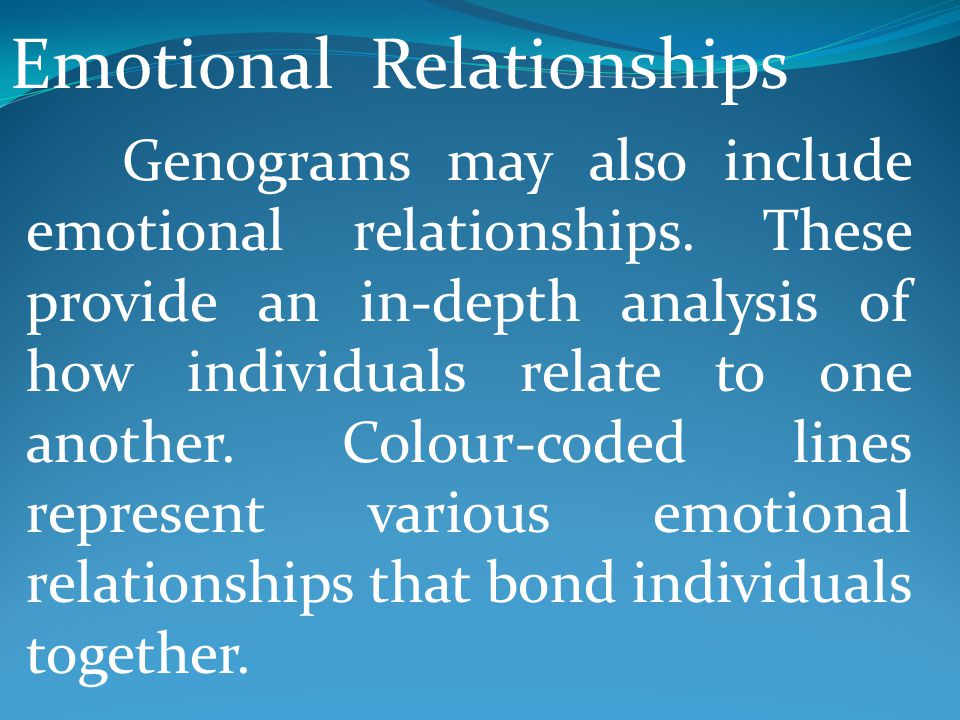 Emotional Relationships Genograms may also include emotional relationships. These provide an in-depth analysis of how individuals relate to one anothe
