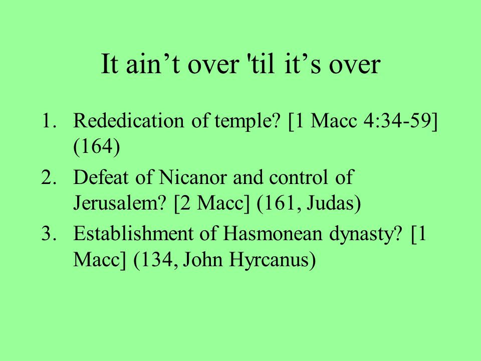 Readings The perpetual fire and the ark –2 Macc 1:19-23,30-34; 2:1-7 Creatio ex nihil(o) [Creation from Nothing] –2 Macc 7:28 Resurrection of the dead and Prayer for the dead –2 Macc 7-8; 12:39-45