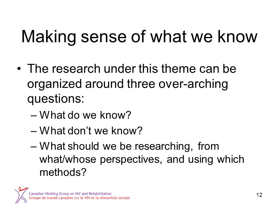 Making sense of what we know The research under this theme can be organized around three over-arching questions: –What do we know.