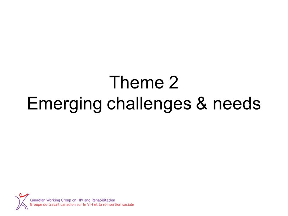 Theme 2 Emerging challenges & needs