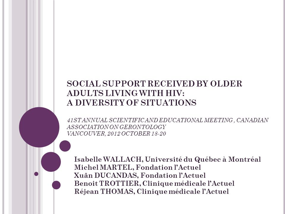 SOCIAL SUPPORT RECEIVED BY OLDER ADULTS LIVING WITH HIV: A DIVERSITY OF SITUATIONS 41ST ANNUAL SCIENTIFIC AND EDUCATIONAL MEETING, CANADIAN ASSOCIATIO