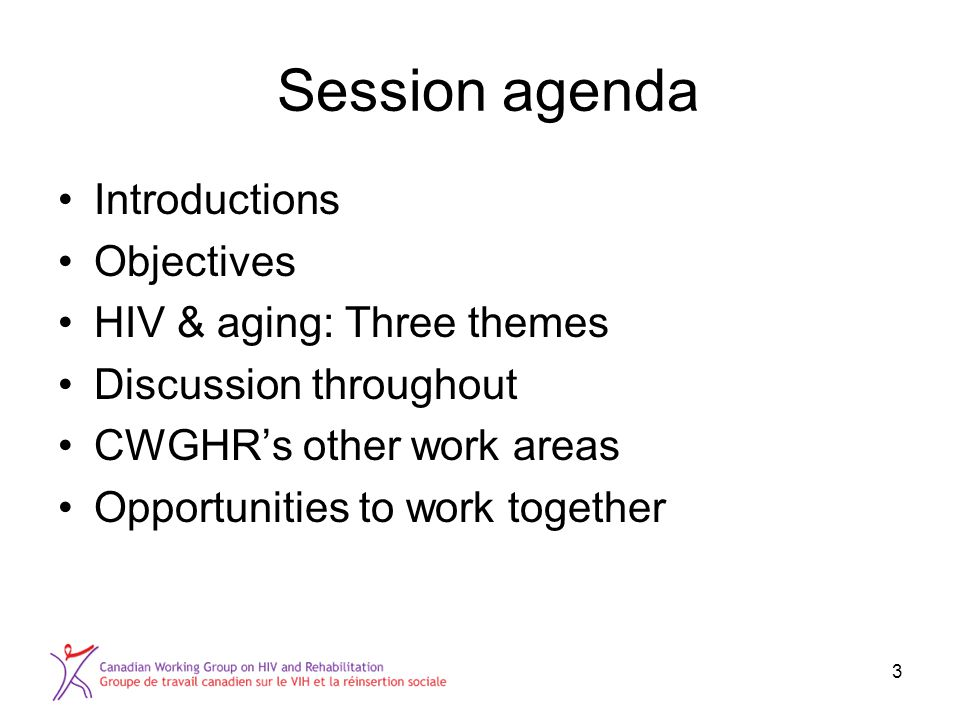 Session agenda Introductions Objectives HIV & aging: Three themes Discussion throughout CWGHR's other work areas Opportunities to work together 3