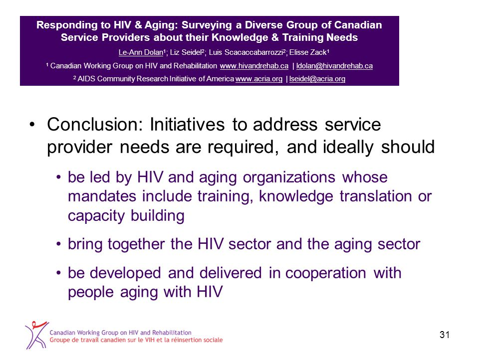 Conclusion: Initiatives to address service provider needs are required, and ideally should be led by HIV and aging organizations whose mandates includ