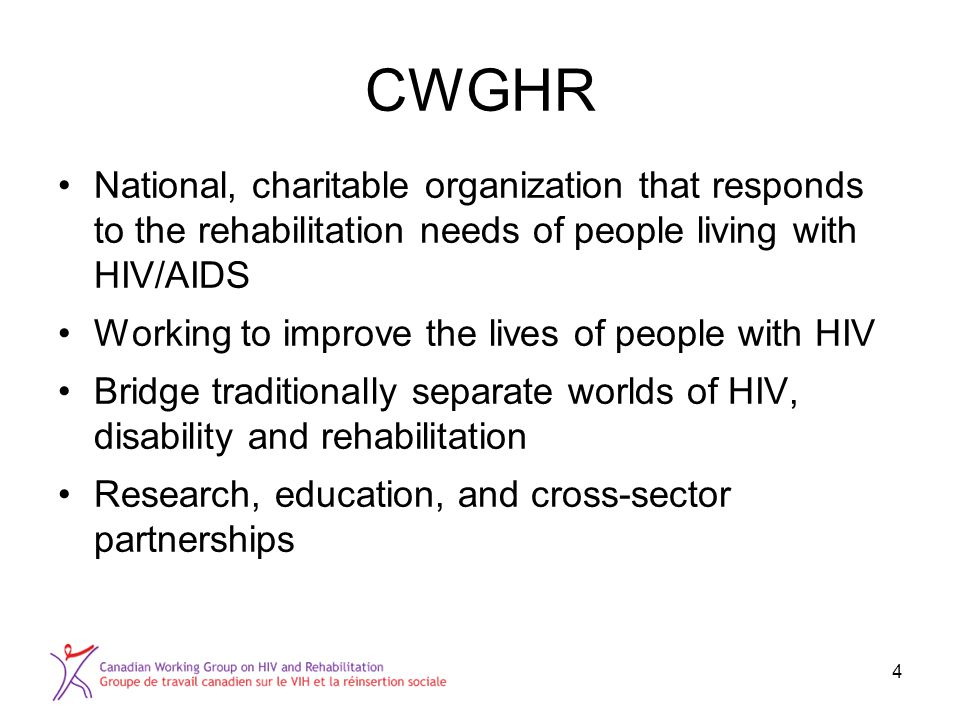 CWGHR National, charitable organization that responds to the rehabilitation needs of people living with HIV/AIDS Working to improve the lives of peopl
