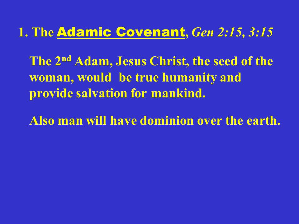 1. The Adamic Covenant, Gen 2:15, 3:15 The 2 nd Adam, Jesus Christ, the seed of the woman, would be true humanity and provide salvation for mankind. A
