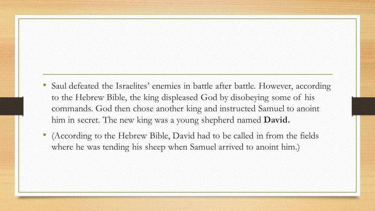 David and Solomon --- King David built an Israelite empire and made Jerusalem his capital city.