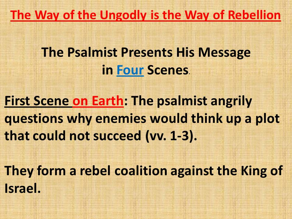 Example of Antithetical Parallelism Psalm 1:6 – For the L ORD knows the way of the righteous, but the way of the ungodly shall perish. Notice how the contrastive conjunction ( but ) introduces the opposite half of the parallelism: The way of the righteous corresponds to the way of the ungodly, and knows corresponds to shall perish.