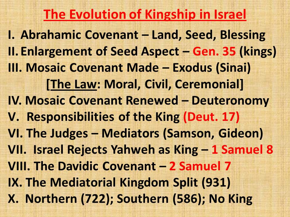 The Evolution of Kingship in Israel I.Abrahamic Covenant – Land, Seed, Blessing II.Enlargement of Seed Aspect – Gen. 35 (kings) III. Mosaic Covenant M