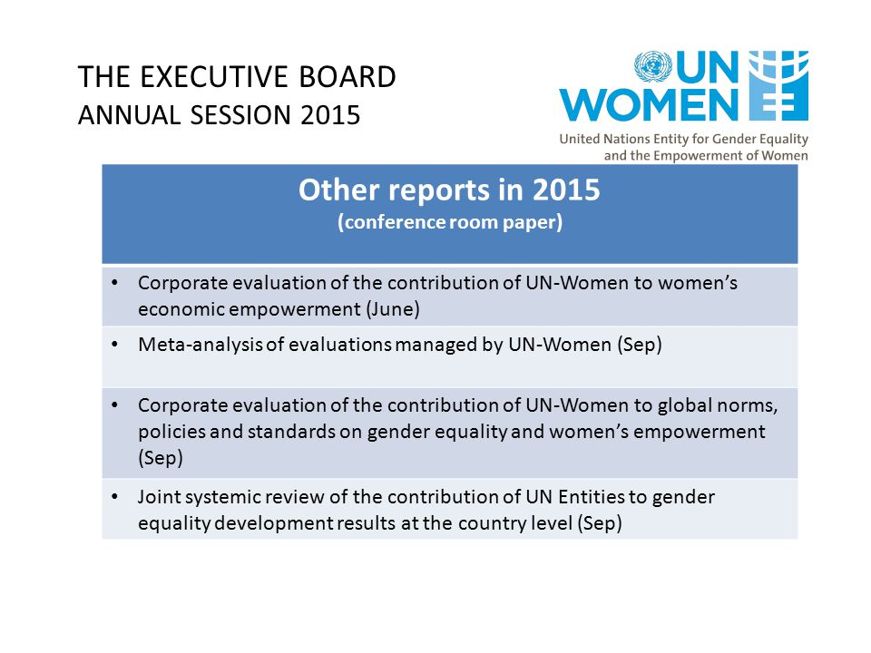 THE EXECUTIVE BOARD ANNUAL SESSION 2015 Other reports in 2015 (conference room paper) Corporate evaluation of the contribution of UN-Women to women's economic empowerment (June) Meta-analysis of evaluations managed by UN-Women (Sep) Corporate evaluation of the contribution of UN-Women to global norms, policies and standards on gender equality and women's empowerment (Sep) Joint systemic review of the contribution of UN Entities to gender equality development results at the country level (Sep)