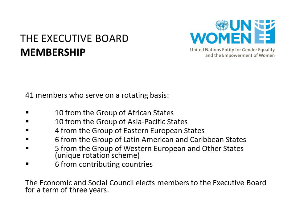 THE EXECUTIVE BOARD MEMBERSHIP 41 members who serve on a rotating basis:  10 from the Group of African States  10 from the Group of Asia-Pacific States  4 from the Group of Eastern European States  6 from the Group of Latin American and Caribbean States  5 from the Group of Western European and Other States (unique rotation scheme)  6 from contributing countries The Economic and Social Council elects members to the Executive Board for a term of three years.