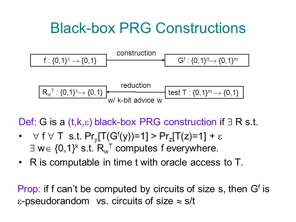 Black-box PRG Constructions Def: G is a (t,k,  ) black-box PRG construction if  R s.t.