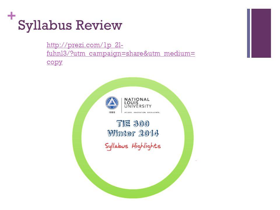 + Syllabus Review http://prezi.com/1p_2l- fuhnl3/?utm_campaign=share&utm_medium= copy