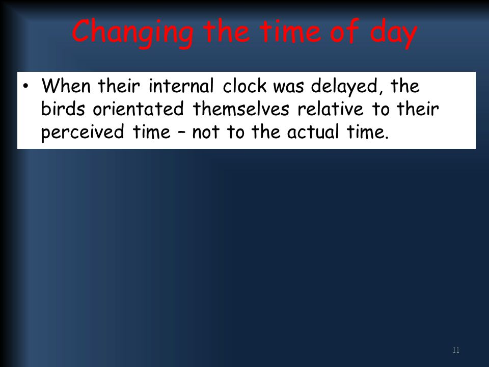 Changing the time of day When their internal clock was delayed, the birds orientated themselves relative to their perceived time – not to the actual t