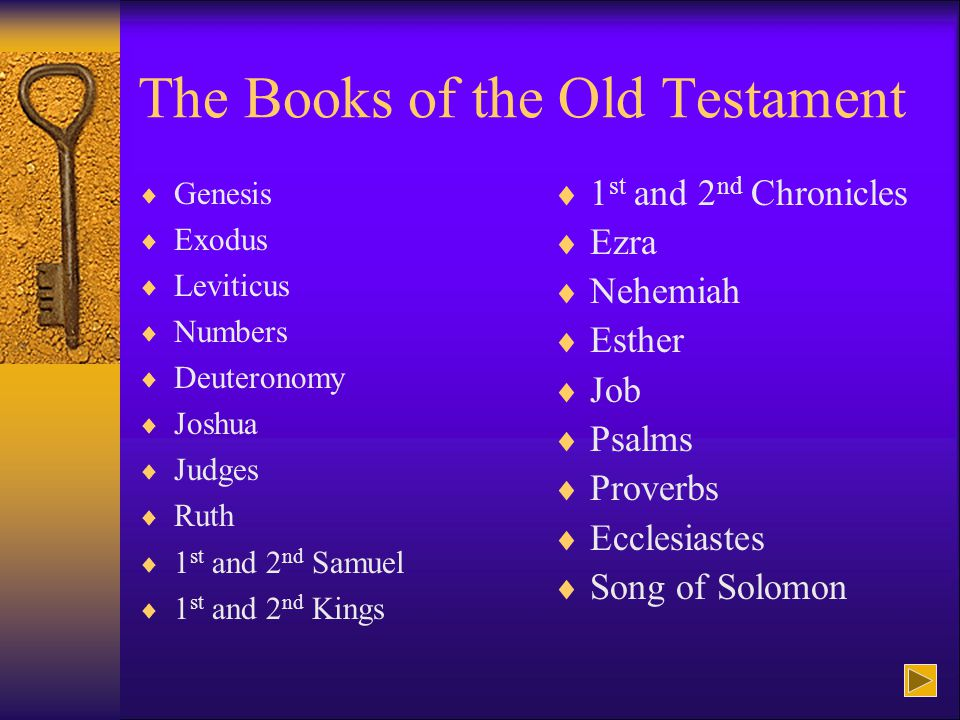 The Books of the Old Testament  Genesis  Exodus  Leviticus  Numbers  Deuteronomy  Joshua  Judges  Ruth  1 st and 2 nd Samuel 