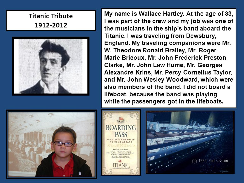 Titanic Tribute 1912-2012 My name is Patrick Canavan.