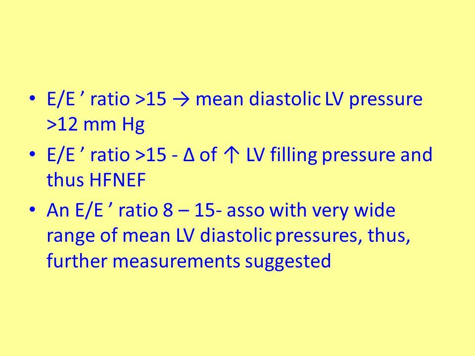 E/E ' ratio >15 → mean diastolic LV pressure >12 mm Hg E/E ' ratio >15 - ∆ of ↑ LV filling pressure and thus HFNEF An E/E ' ratio 8 – 15- asso with ve