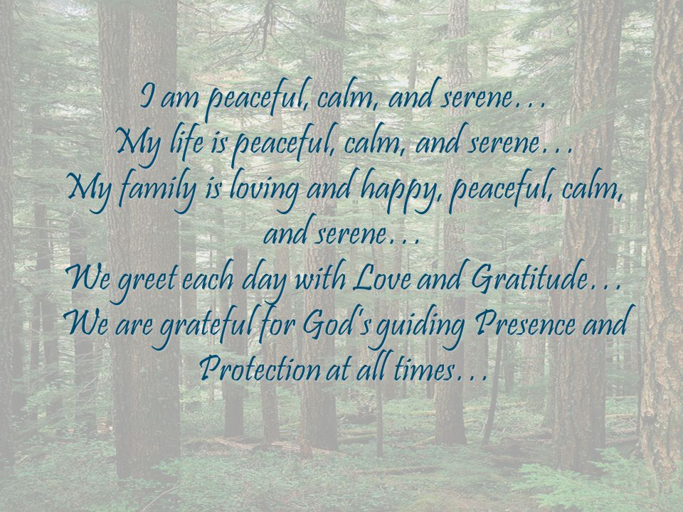 I am peaceful, calm, and serene… My life is peaceful, calm, and serene… My family is loving and happy, peaceful, calm, and serene… We greet each day with Love and Gratitude… We are grateful for God's guiding Presence and Protection at all times…