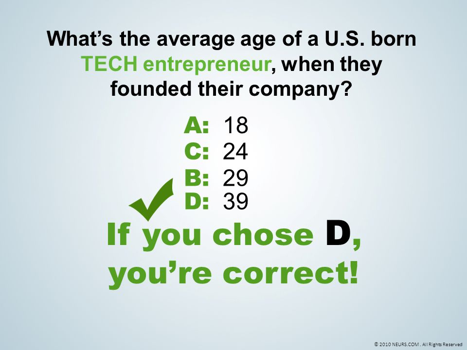 © 2010 NEURS.COM. All Rights Reserved What's the average age of a U.S.