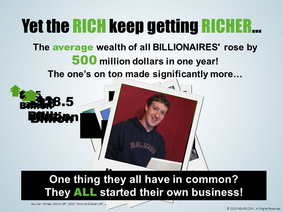 © 2010 NEURS.COM. All Rights Reserved Yet the RICH keep getting RICHER… The average wealth of all BILLIONAIRES' rose by 500 million dollars in one yea