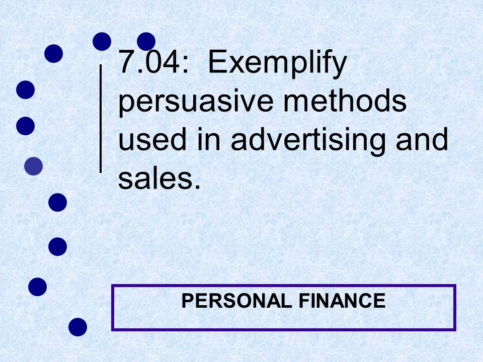 Key Terms: Advertising and Sales Methods print ad An ad in a newspaper, magazine, telephone directory, or other publication direct mail advertising Printed advertising sent by mail to consumers' homes Commercial A brief, one minute or less, TV or radio ad used to promote a product Infomercial A TV or radio ad that promotes a product and lasts 30 minutes or longer
